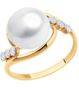 Кольцо из золота с жемчугом и фианитами 791170