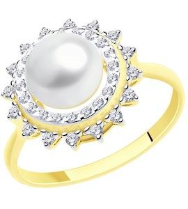Кольцо из желтого золота с жемчугом и фианитами 791172-2