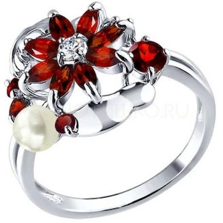 Кольцо из серебра с миксом камней 92010134