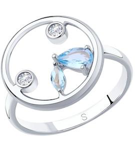 Кольцо из серебра с топазами и фианитами 92011871