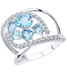 Кольцо из серебра с топазами и фианитами 92011875