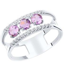 Кольцо из серебра с аметистами и фианитами 92011919