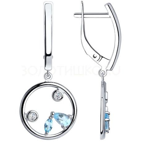 Серьги из серебра с топазами и фианитами 92022105
