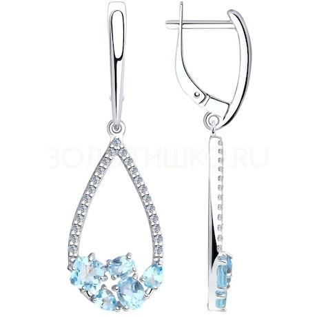 Серьги из серебра с топазами и фианитами 92022193