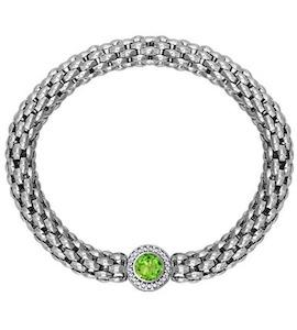 Широкий серебряный браслет с хризолитом 92050048