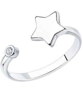 Серебряное кольцо с фианитом «Звёздочка» 94012709