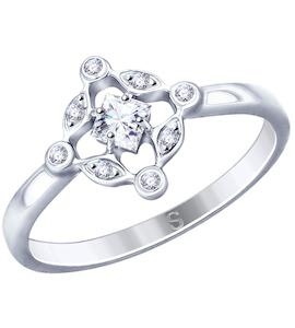 Кольцо из серебра с фианитами 94012805