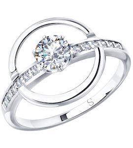 Кольцо из серебра с фианитами 94012941