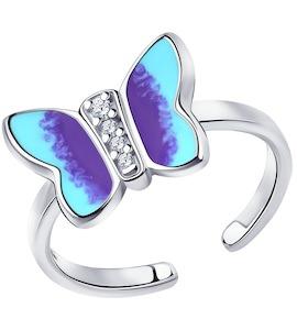 Кольцо из серебра с эмалью и фианитами 94013120