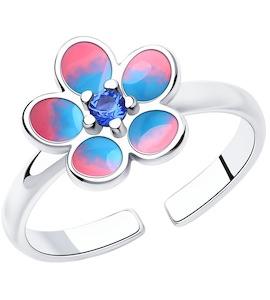 Кольцо из серебра с эмалью и фианитом 94013129