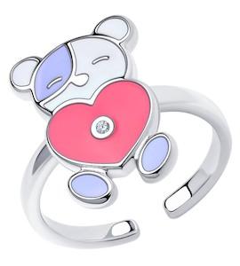 Кольцо из серебра с эмалью и фианитом 94013183