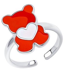 Кольцо из серебра с эмалью 94013184