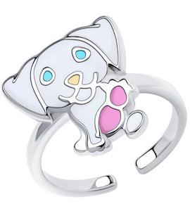 Кольцо из серебра с эмалью 94013185