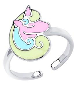 Кольцо из серебра с эмалью 94013186