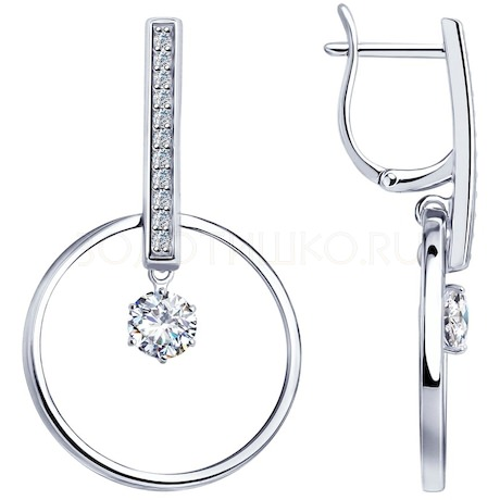 Серьги из серебра с фианитами 94023251