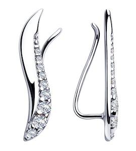 Серьги-зажимы  из серебра с фианитами 94023332