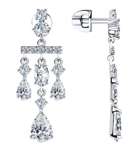 Серьги из серебра с фианитами 94023564