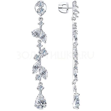Серьги из серебра с фианитами 94023592