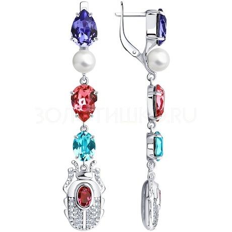 Серьги из серебра с жемчугом Swarovski, кристаллами Swarovski и фианитами 94024009