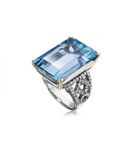 Кольцо из золота и платины с аквамарином и бриллиантами