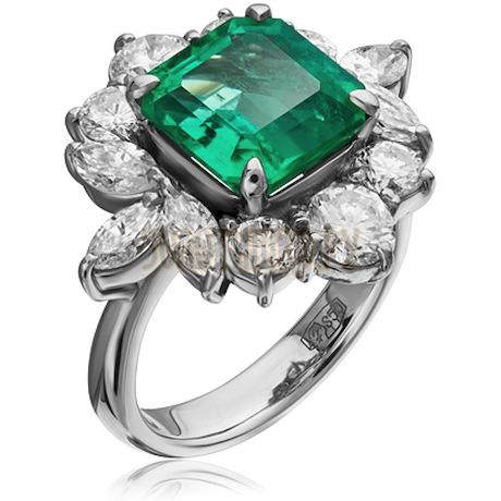 Кольцо из платины с изумрудом и бриллиантами 1033462