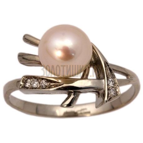 Золотое кольцо с жемчугом культивированным и бриллиантами 1_00199