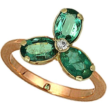 Золотое кольцо с изумрудом и бриллиантом 1_00235
