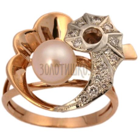 Золотое кольцо с жемчугом культивированным и бриллиантом (n) 1_00357