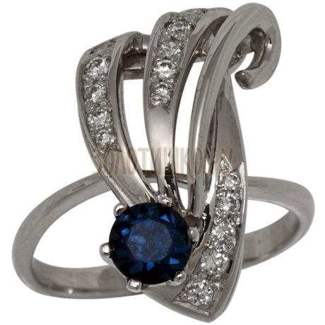 Кольцо из белого золота с сапфиром (h) и бриллиантом (n) 1_00427