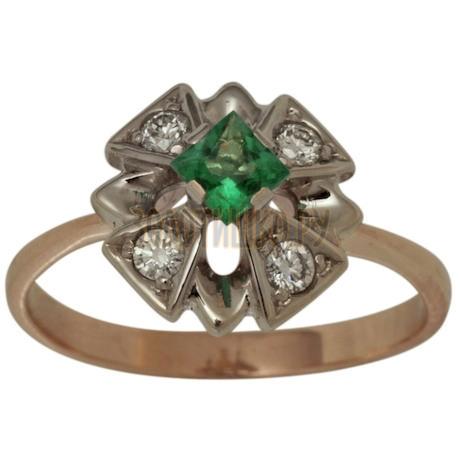 Золотое кольцо с изумрудом и бриллиантами 1_00430