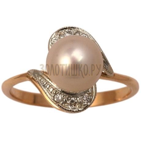 Золотое кольцо с жемчугом культивированным и бриллиантами 1_00443
