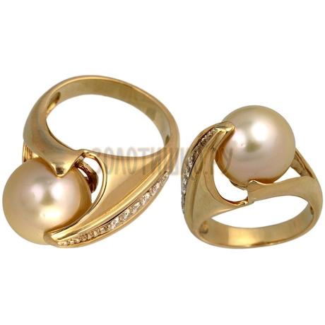 Золотое кольцо с жемчугом культивированным и бриллиантами 1_00494