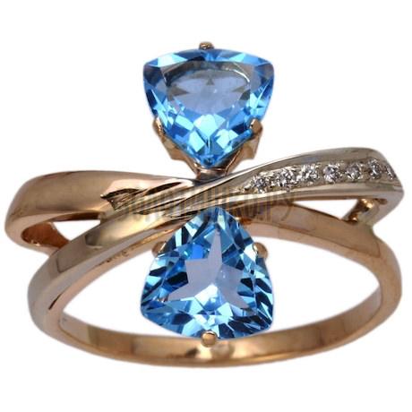 Золотое кольцо с топазом и бриллиантами 1_00505
