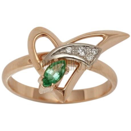 Золотое кольцо с изумрудом и бриллиантами 1_00766