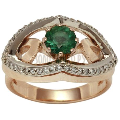 Золотое кольцо с изумрудом и бриллиантами 1_00770