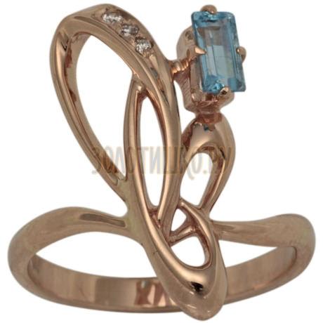 Золотое кольцо с топазом и бриллиантами 1_00821