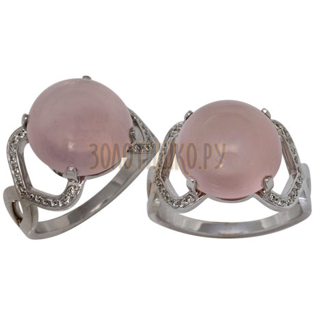 Кольцо из белого золота с кварцем и бриллиантами 1_00891