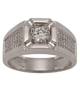 Мужское кольцо из белого золота с бриллиантами