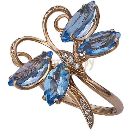 Кольцо из белого золота с топазом и бриллиантами 1_00960