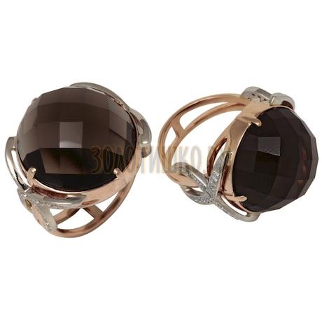 Золотое кольцо с кварцем дымчатым и бриллиантами 1_00978