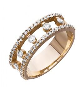 Золотое обручальное кольцо с бриллиантами