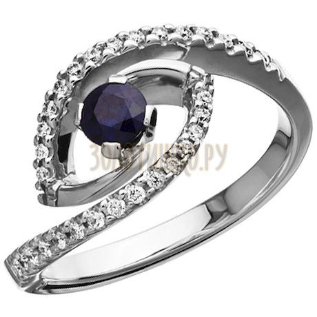 Кольцо из белого золота с сапфиром и бриллиантами 1_01068