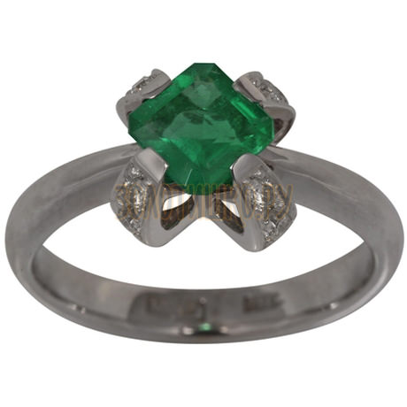 Кольцо из белого золота с изумрудом и бриллиантами 1_01138