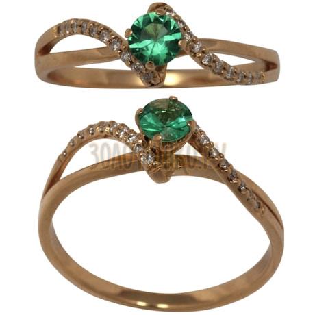 Золотое кольцо с изумрудом (o) и бриллиантом (n) 1_01209
