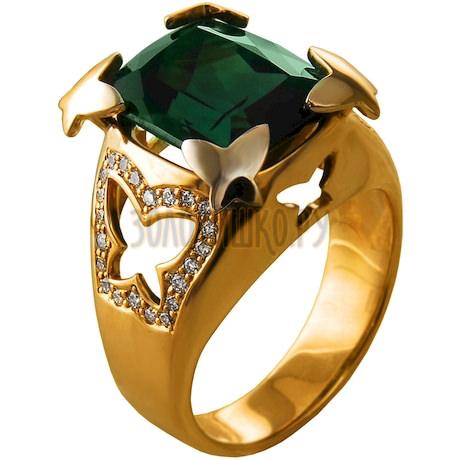 Золотое кольцо с турмалином и бриллиантами 1_01381