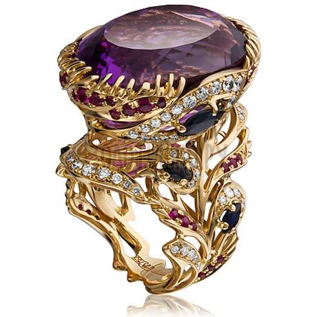 Кольцо из белого золота с аметистом, бриллиантами, рубином и сапфиром 1_01406