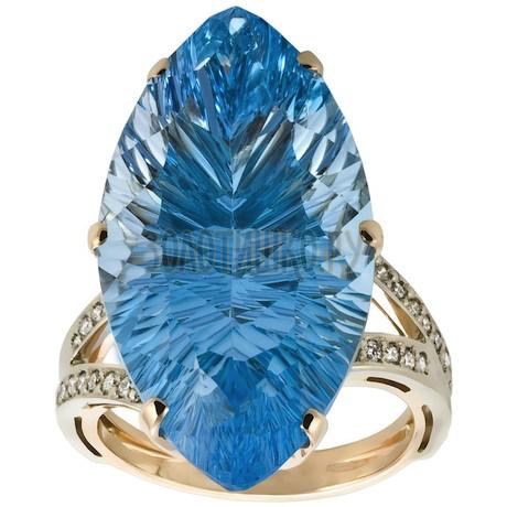 Золотое кольцо с топазом и бриллиантами 1_01444