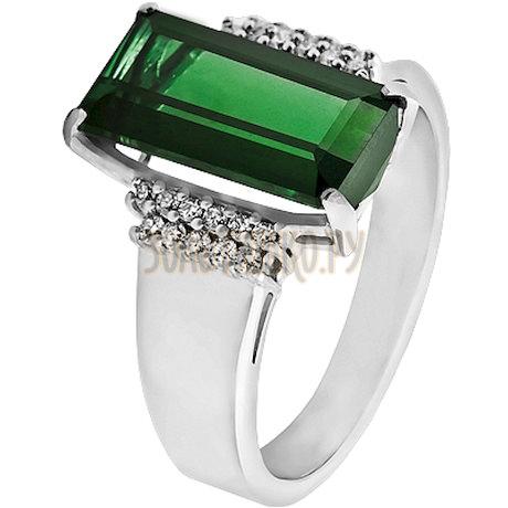 Кольцо из белого золота с турмалином и бриллиантами 1_01464
