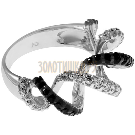 Кольцо из белого золота с бриллиантом облагороженный (нтнр) и бриллиантом (n) 1_01749