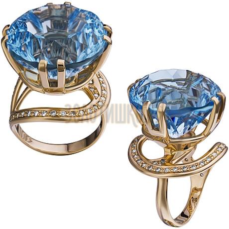 Золотое кольцо с топазом и бриллиантами 1_01818